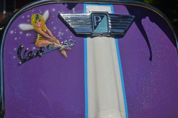 'Stellina' my custom sprayed purple glitter vbc vespa  Airbrushed wasp girl