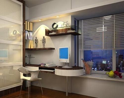 White modern home study room designs.