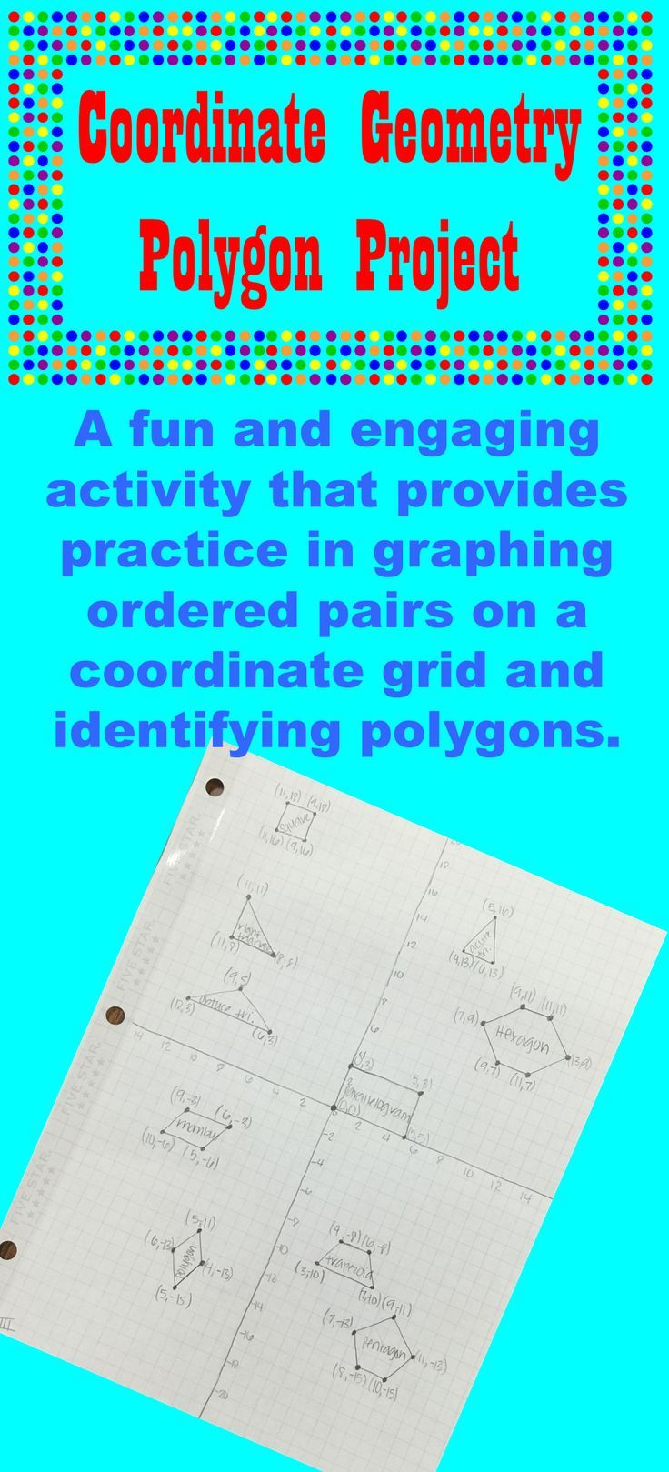 Coordinate Geometry Polygon Project - Graphing on a Coordinate Grid    Elementary measurement activities [ 1619 x 736 Pixel ]
