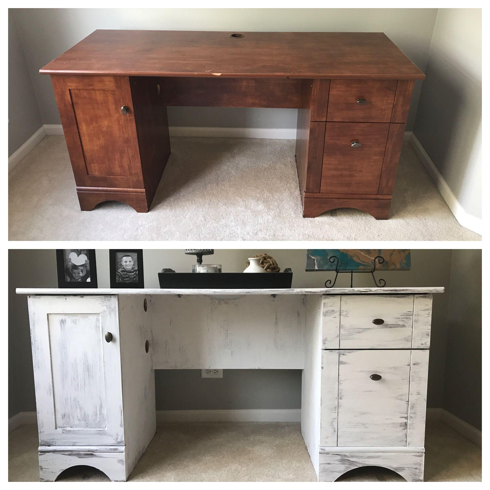 Chalk Paint White Washed Desk White Wash Desk Home Decor