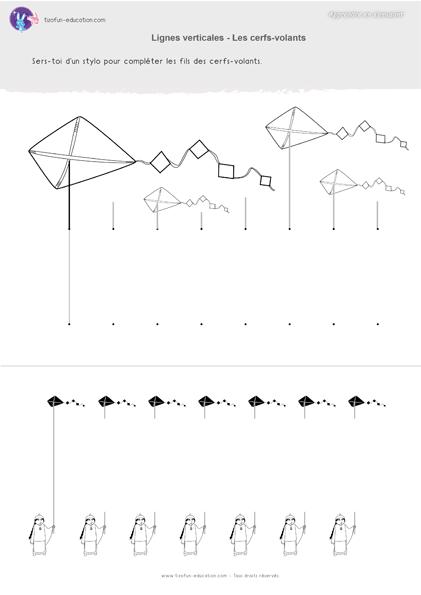 3 pdf fiche maternelle gs graphisme lignes verticale cerf volant a imprimer graphisme. Black Bedroom Furniture Sets. Home Design Ideas