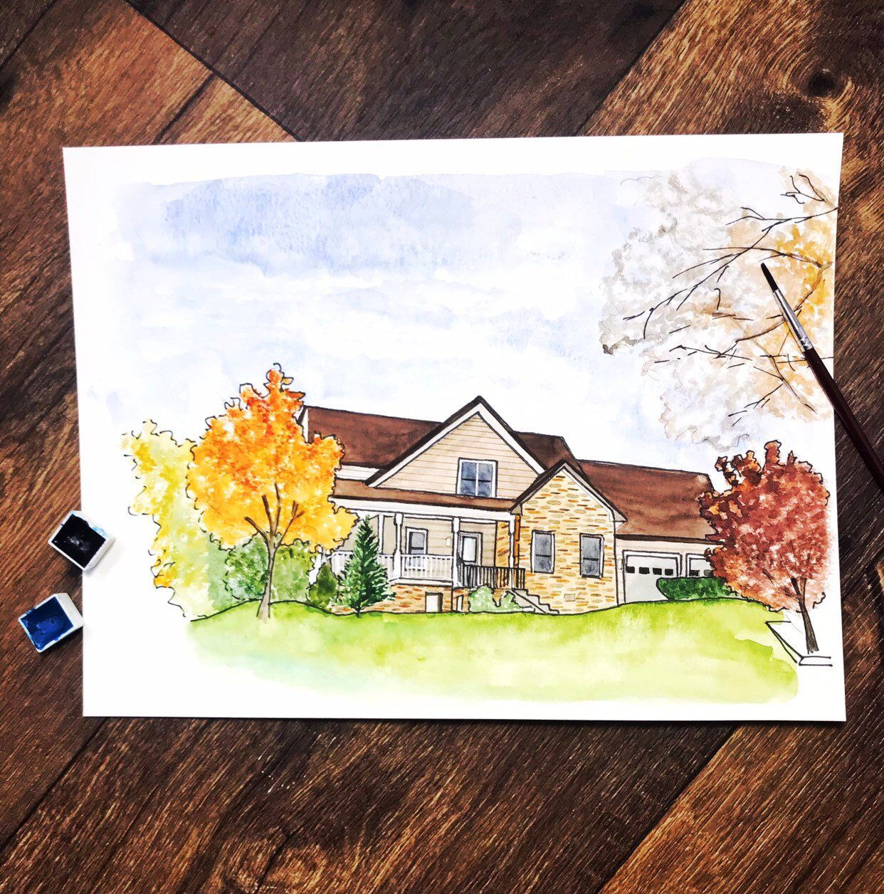 Custom Watercolor House Portrait Personalized Housewarming Gift