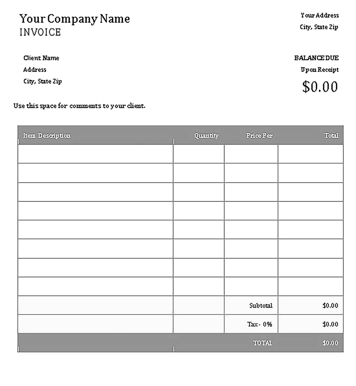 Carpenter invoice templates sample invoice template