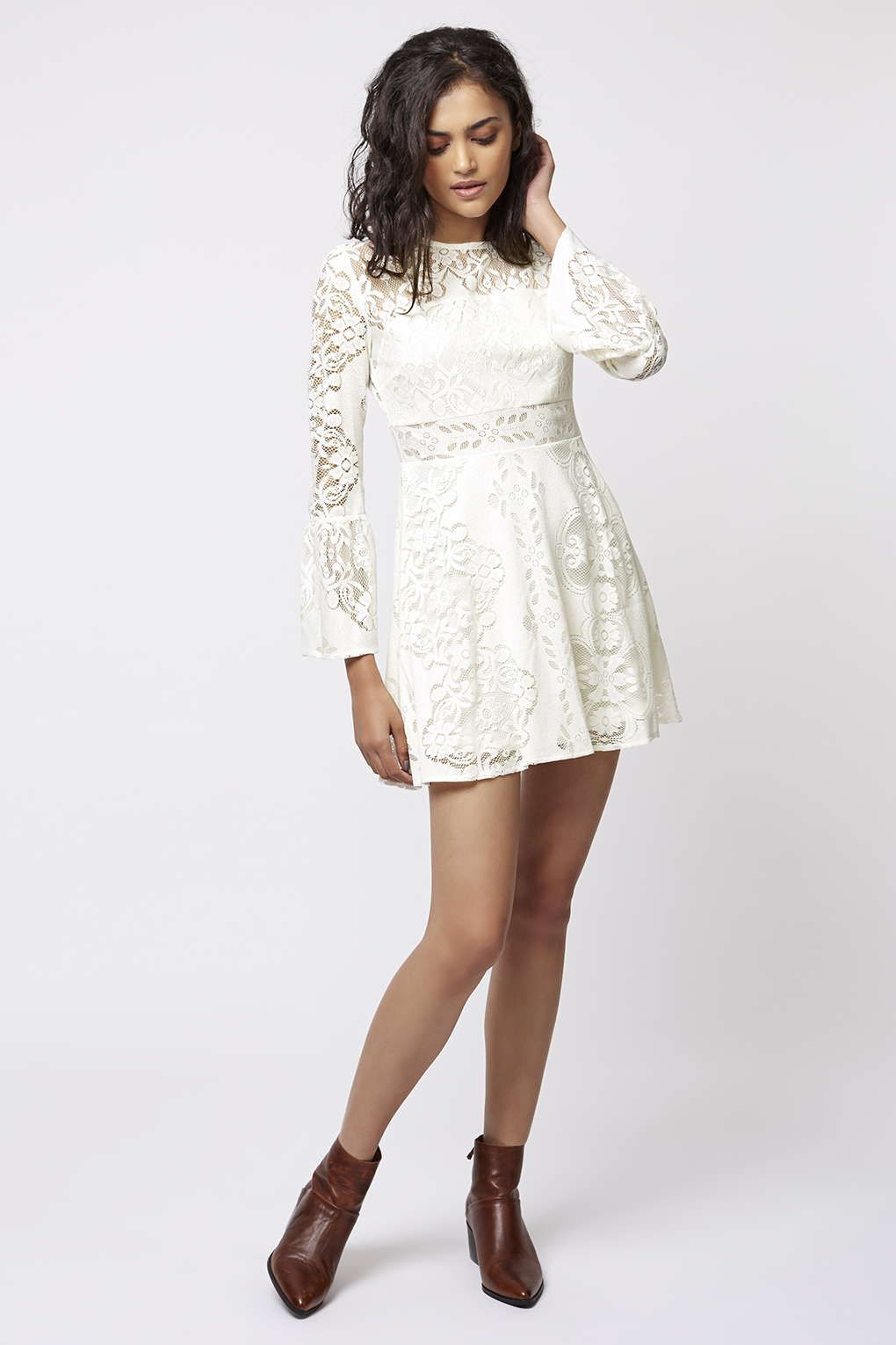 PETITE Fluted Sleeve Lace Dress - Dresses - Clothing - Topshop