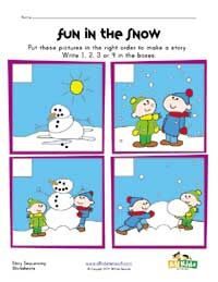 Snowman Sequencing Worksheet