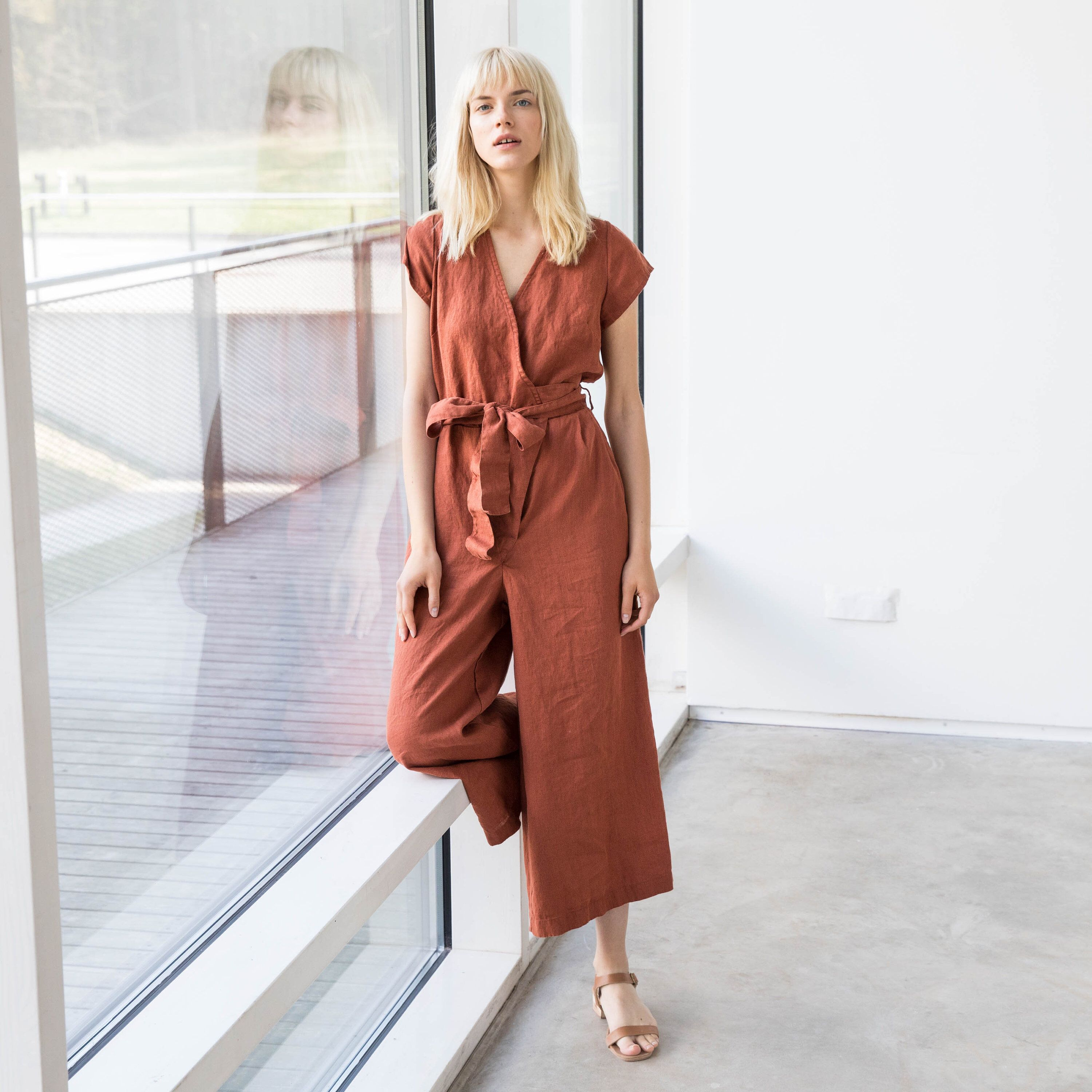 9acd982304a5 Wrap linen jumpsuit TORINO in MAXI length   Washed long linen overall    Linen romper by