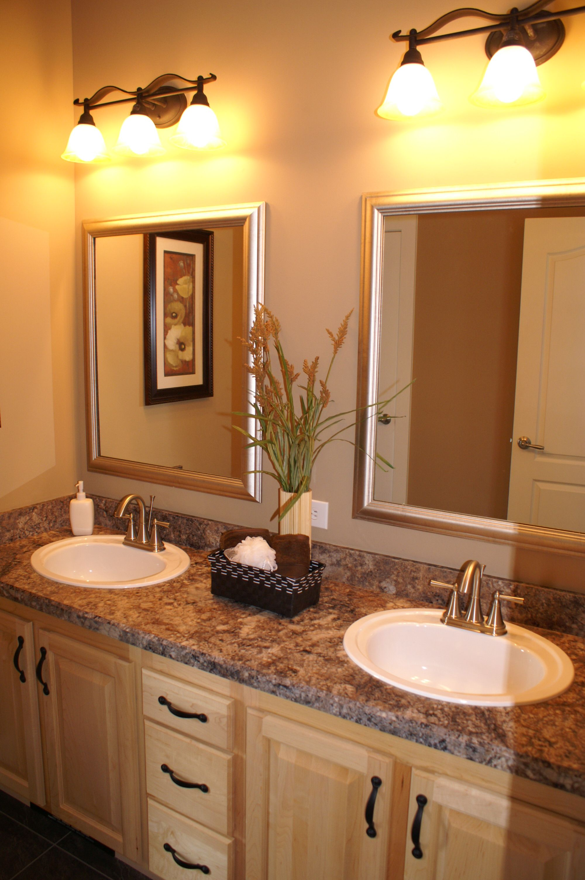 interesting bathroom light fixtures%0A Individual framed mirrors  u     separate fixtures on a double sink vanity   huge difference than big mirror  u     one vanity light