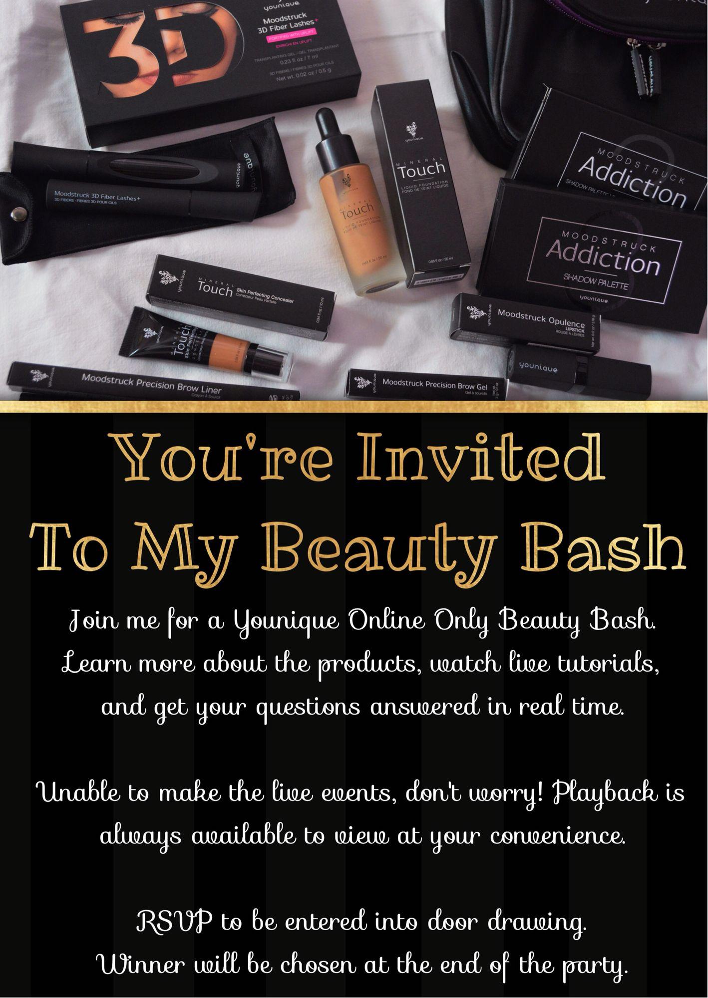 Younique Party Invitation Hostess Invite Event Invite Beauty Bash