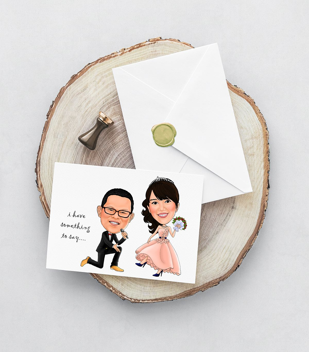 Caricature wedding / invitation card / wedding caricature / bride ...