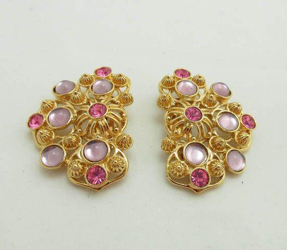Avon Barrera Earrings Rhinestones Gold Metal by JellyBellyJewels