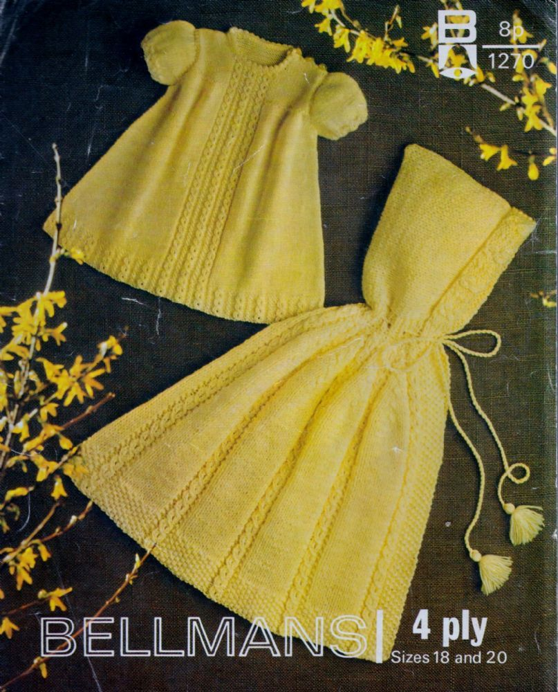 Original Vintage Knitting Pattern Baby Hooded Cape Short Sleeve ...
