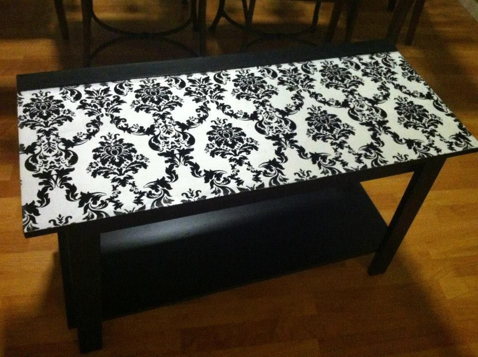 decoupaged table w/ silk fabric | decoupage w/ fabric | pinterest