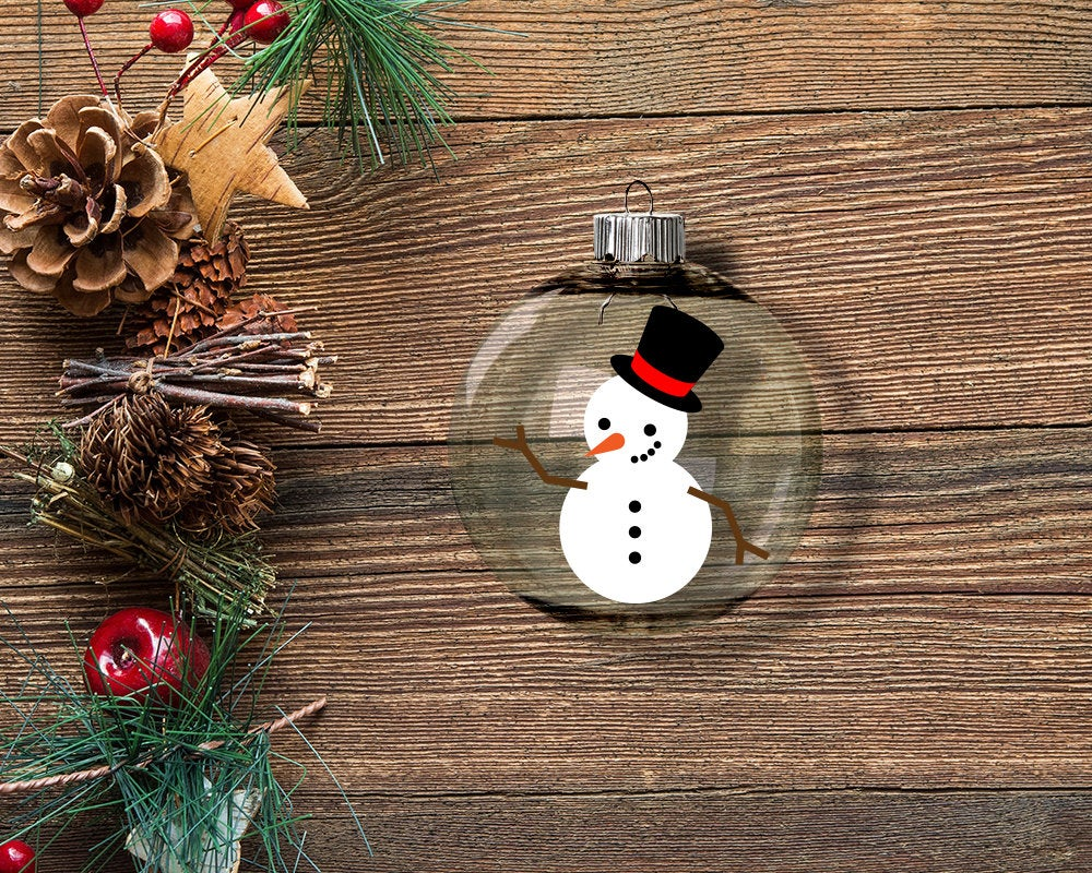 Snowman with Hat SVG File Template Vinyl ornaments