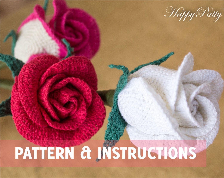 Crochet Rose Pattern - Half Open Rose (Bowl Shape) - Crochet Flower ...