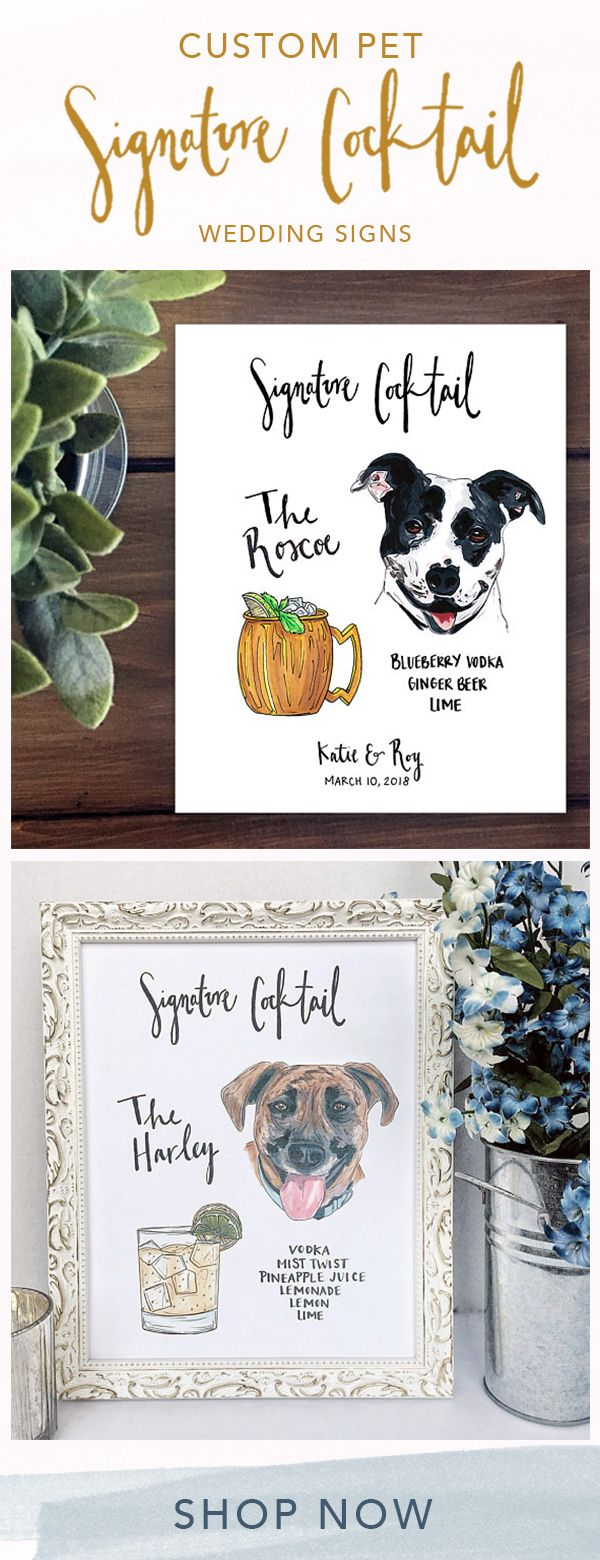 Custom Pet Signature Drinks Wedding Sign for Bar print