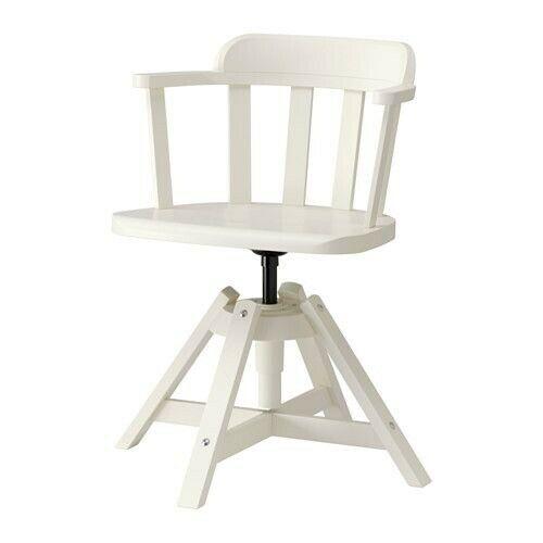 Ikea Feodor White Solid Birch Swivel Chair Ebay Chair Ikea Swivel Chair