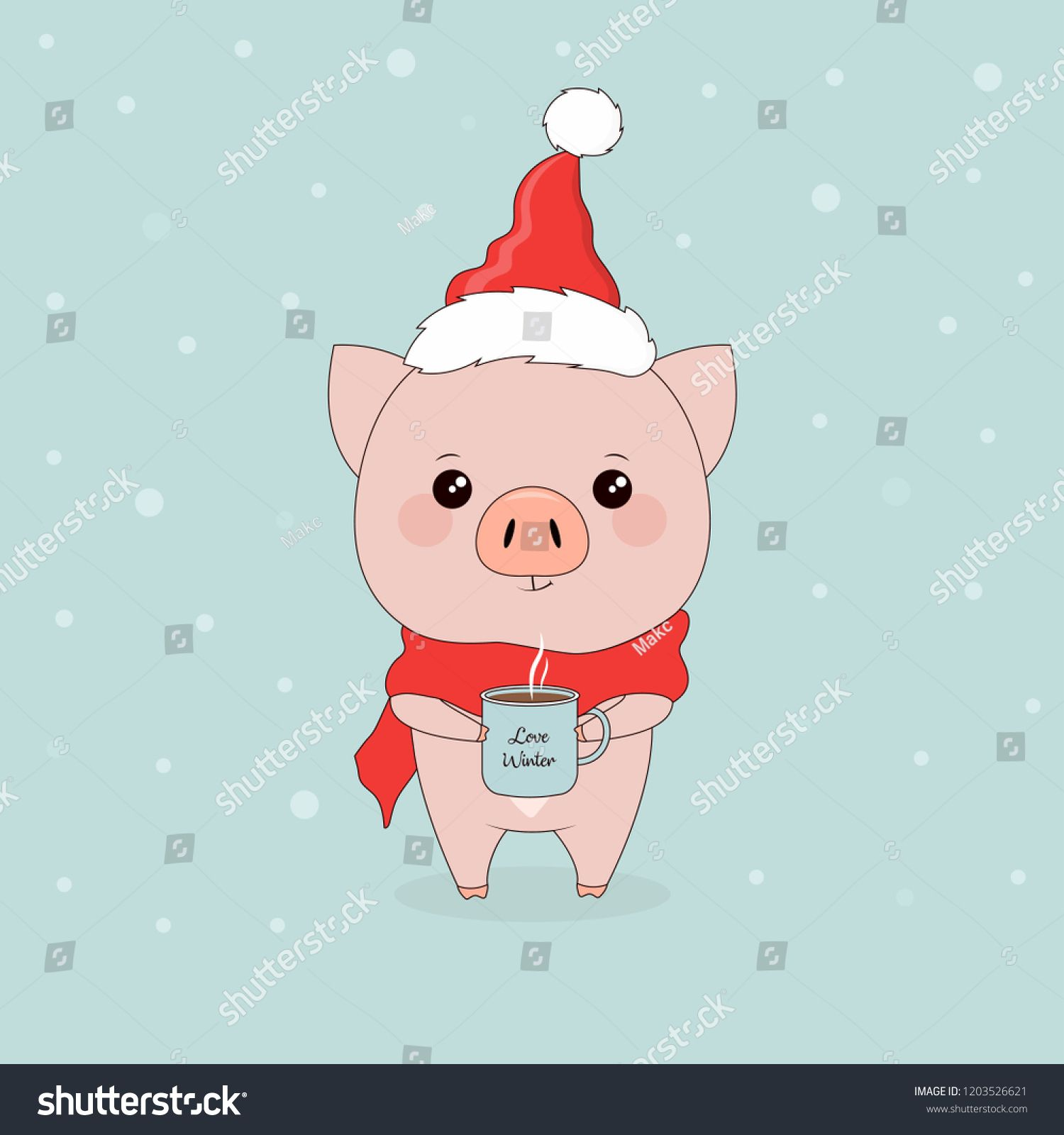 postcard with funny pig in Santa hat and scarf with cup of ...