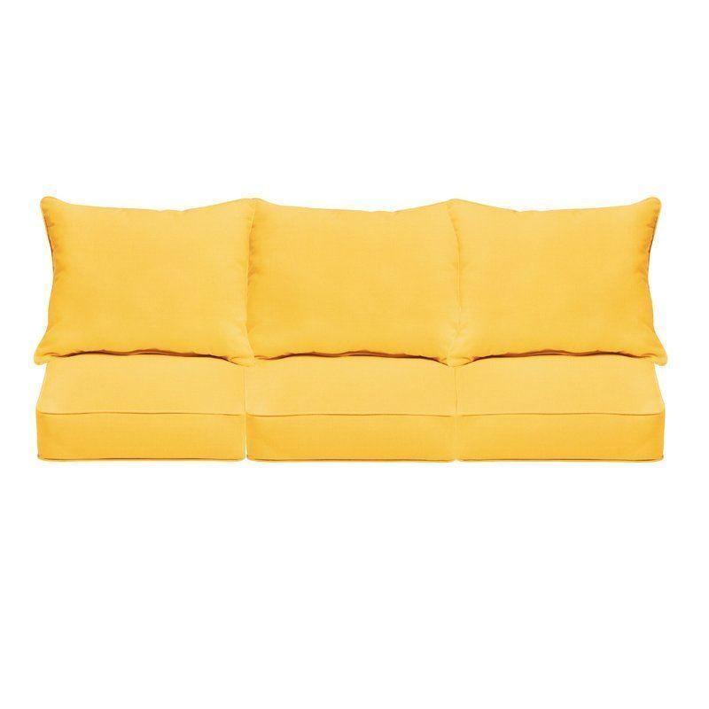 Seat 72x26x4 Back 72x20x4 Buttercup Boxed Edge Sungaurd Thread