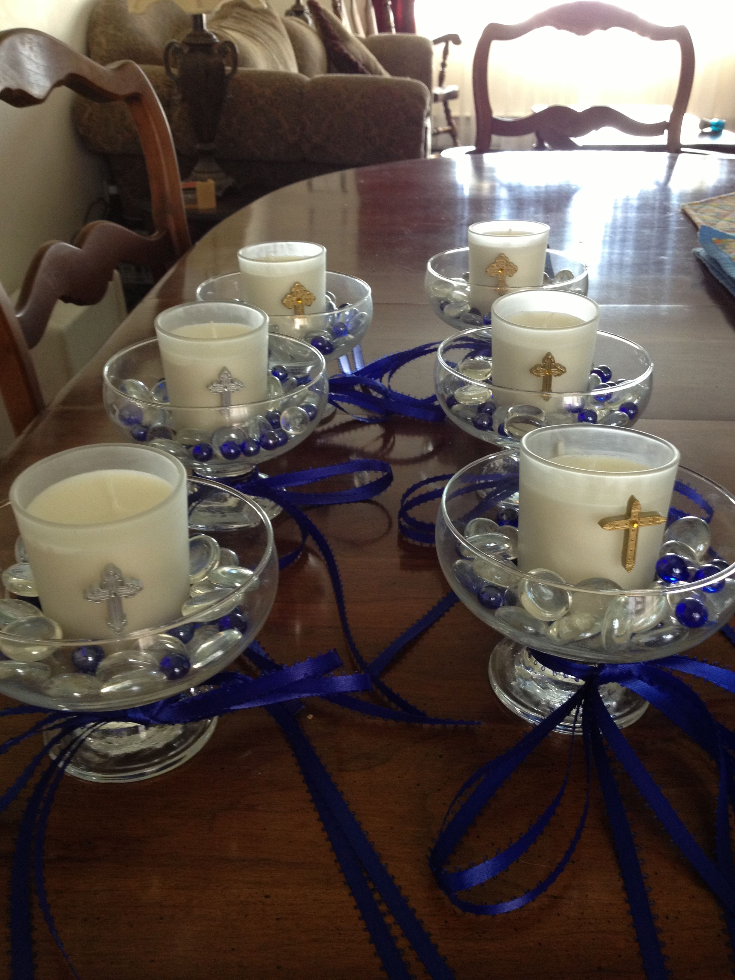1st munion table decorations candles
