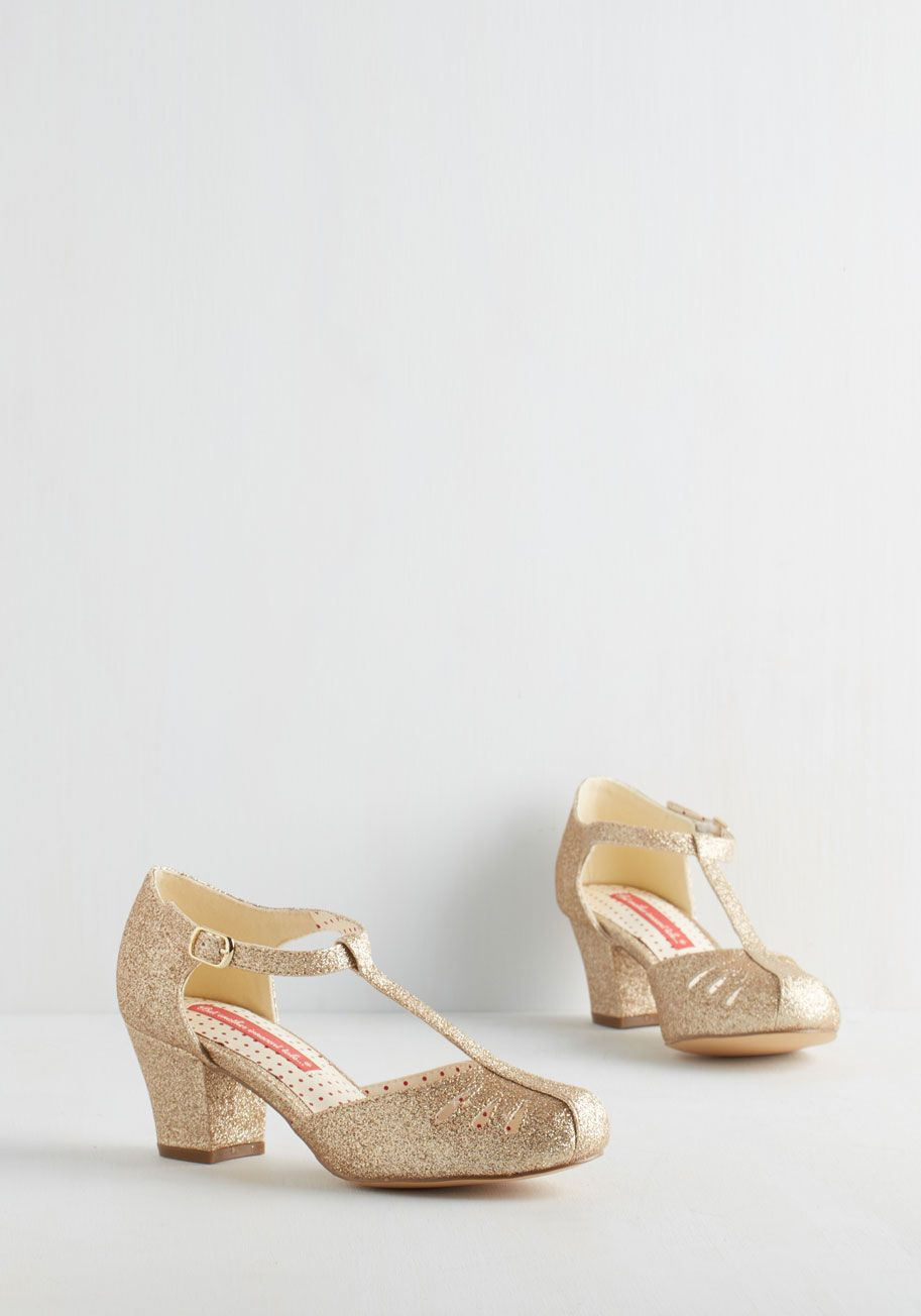 Low heeled vintage style wedding shoes.  Shimmer Down Now Heel | Mod Retro Vintage Heels | ModCloth.com