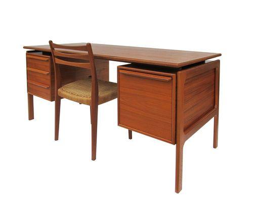 50 Splendid Scandinavian Home Office And Workspace Designs: Mid-Century Modern Danish Teak Executive Floating Top Desk