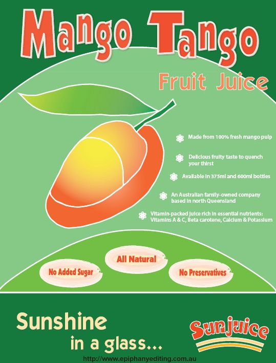 Mango Tango Fruit Juice flyer to promote 100 mango juice drink to - examples of a flyer