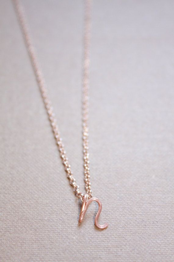 Letter N Necklace Silver Gold Rose Gold Initial Necklace
