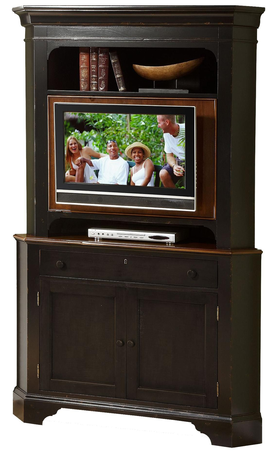 american crossroads corner cabinet with hutch by riverside furniture rh pinterest com au