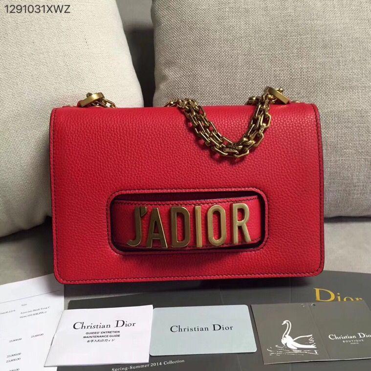 e2d8bc9a5180 Christian Dior CD jadior chain flap shoulder bag clutch purse grainy leather  red