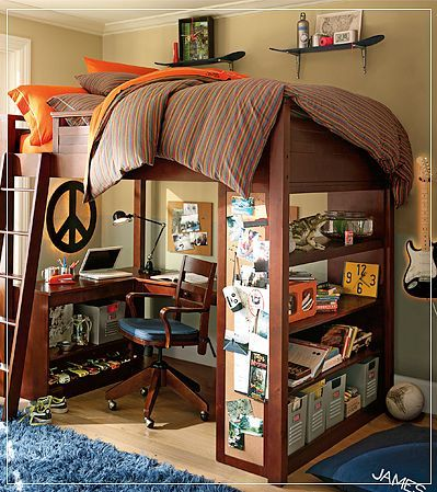 add tons of space and style by lifting your bed way up high stylish dorm living. Black Bedroom Furniture Sets. Home Design Ideas