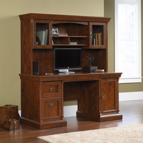 sauder arbor gate computer credenza with hutch coach cherry by rh pinterest com