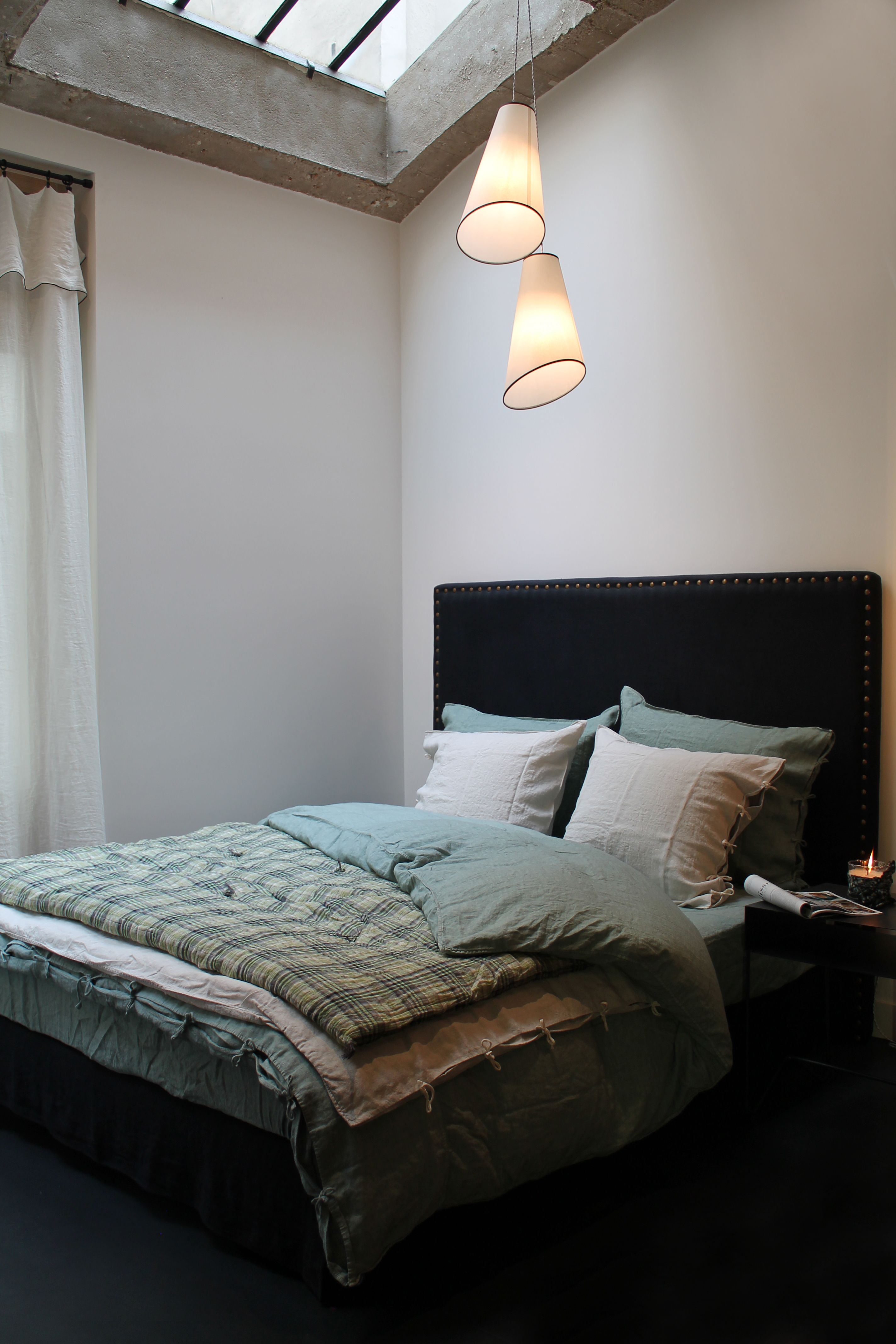 Bed inspiration at the Caravane saint germain store.  Linen and soft cotton.