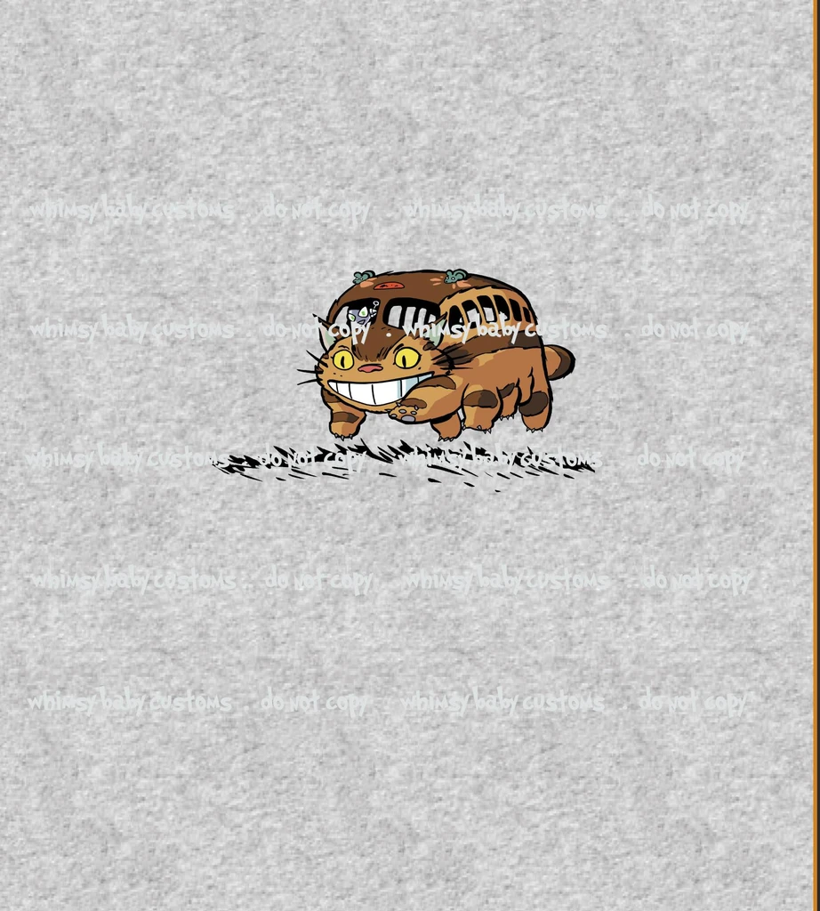 C095 Child Panel Catbus on Heather Grey – Whimsy Baby Customs