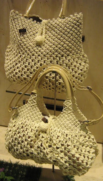 Italian Needlework: Macramé Summer Bags(great site-needlework,icamama)