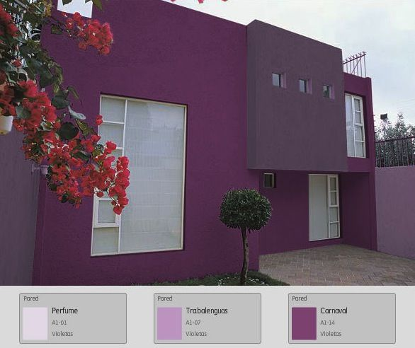 Una fachada fresca moderna y diferente purple house for Colores para pintar