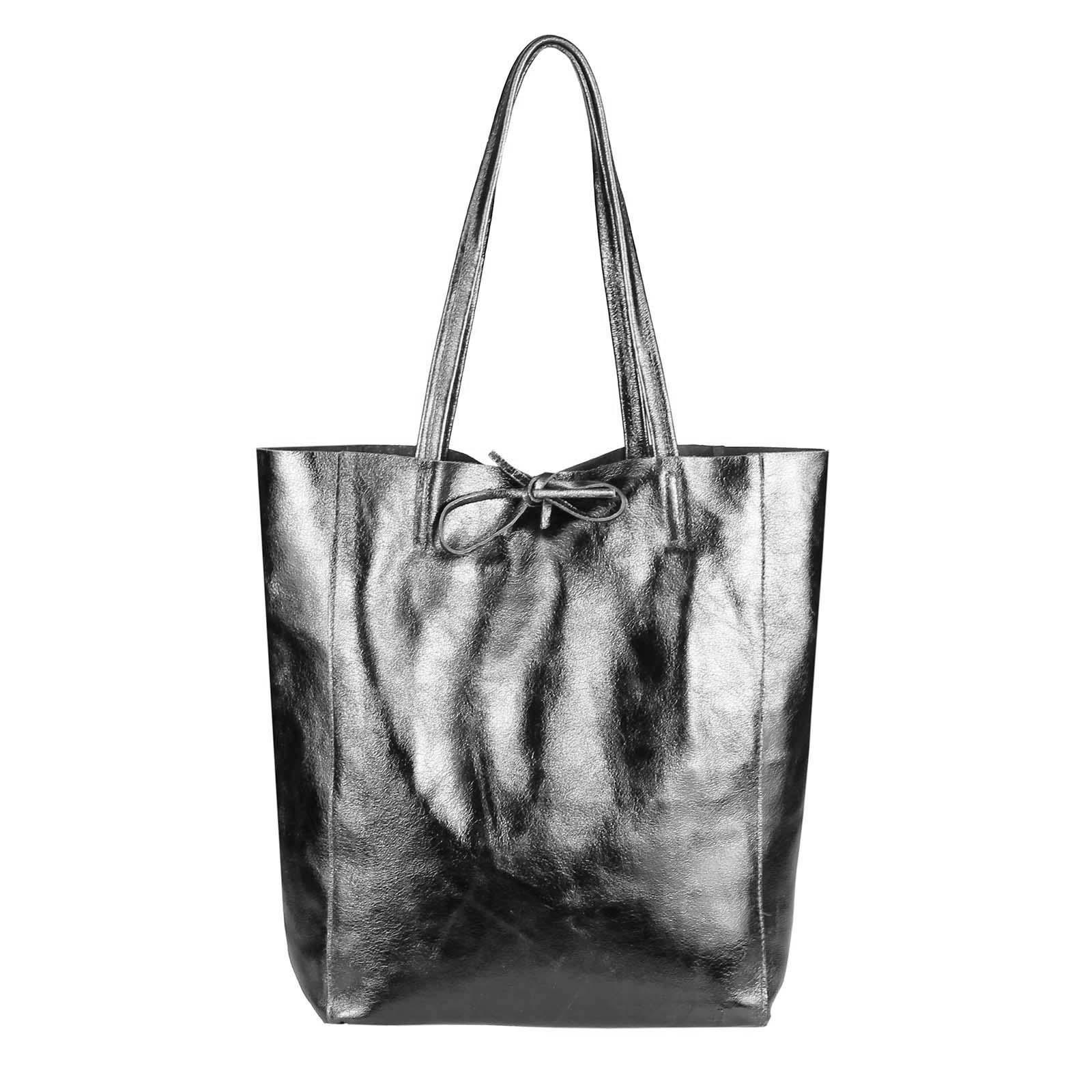 cb168f341248d OBC Made in Italy DAMEN LEDER TASCHE DIN-A4 Shopper Schultertasche  Henkeltasche Tote Bag Metallic