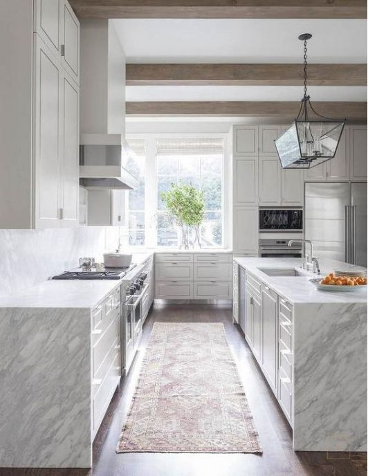simple kitchen with waterfall edge countertops kitchen in 2019 rh pinterest com