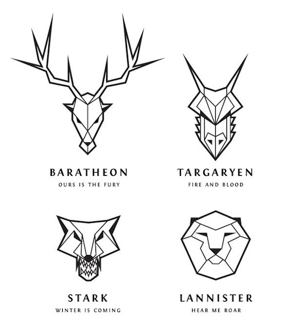 How To Draw 'Game Of Thrones' Line Art Logos   Game of ...
