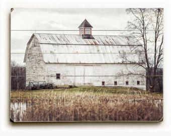 Wood Sign: Farmhouse Decor Wood Planked Art, White Barn, Rustic ...