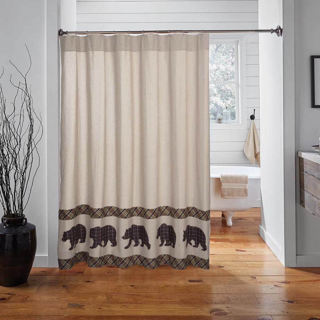 Wyatt Bear Shower Curtain Shower Curtain Rods Primitive