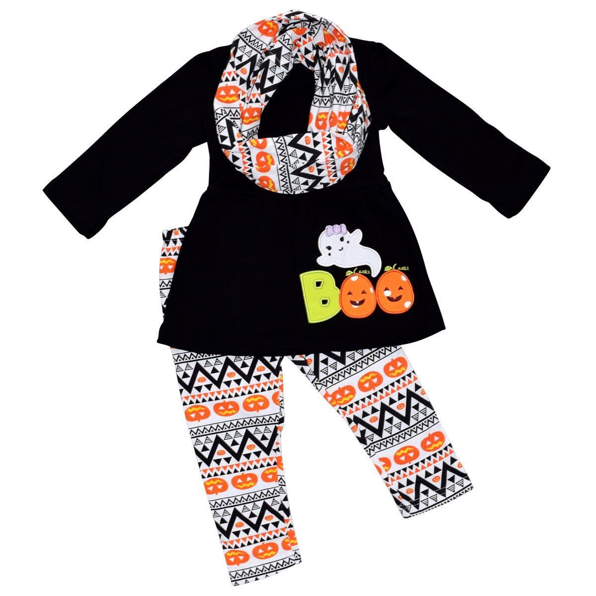 Boutique Girls Halloween Outfit Set Pumpkin Ghost Spider Tunic Leggings w Infinity Scarf