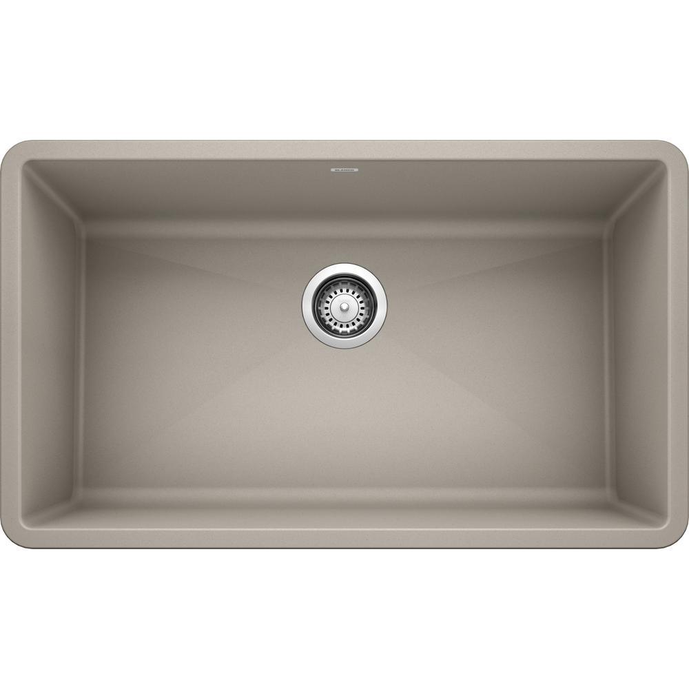 Blanco Precis Undermount Granite Composite 32 In Single Bowl Kitchen Sink In Concrete Gray 442740 The Home Depot In 2020 Single Bowl Kitchen Sink Granite Composite Sinks Composite Kitchen Sinks