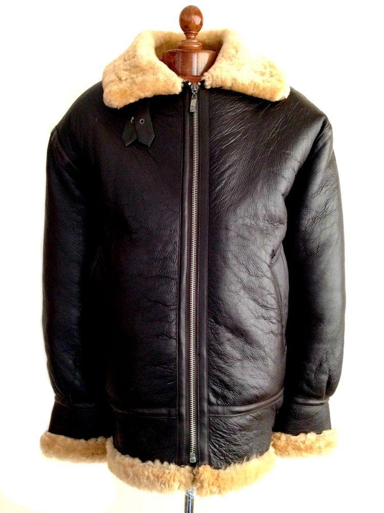 239ec1c14cd Vtg Mens leather B-3 SHEEPSKIN Shearling Flying Pilot Aviator Bomber Jacket  Coat  fashion