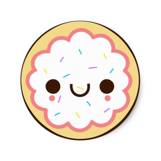 sugar cookie clip art kawaii cute frosted sugar cookie sticker rh pinterest com christmas sugar cookie clipart Candy Cane Clip Art