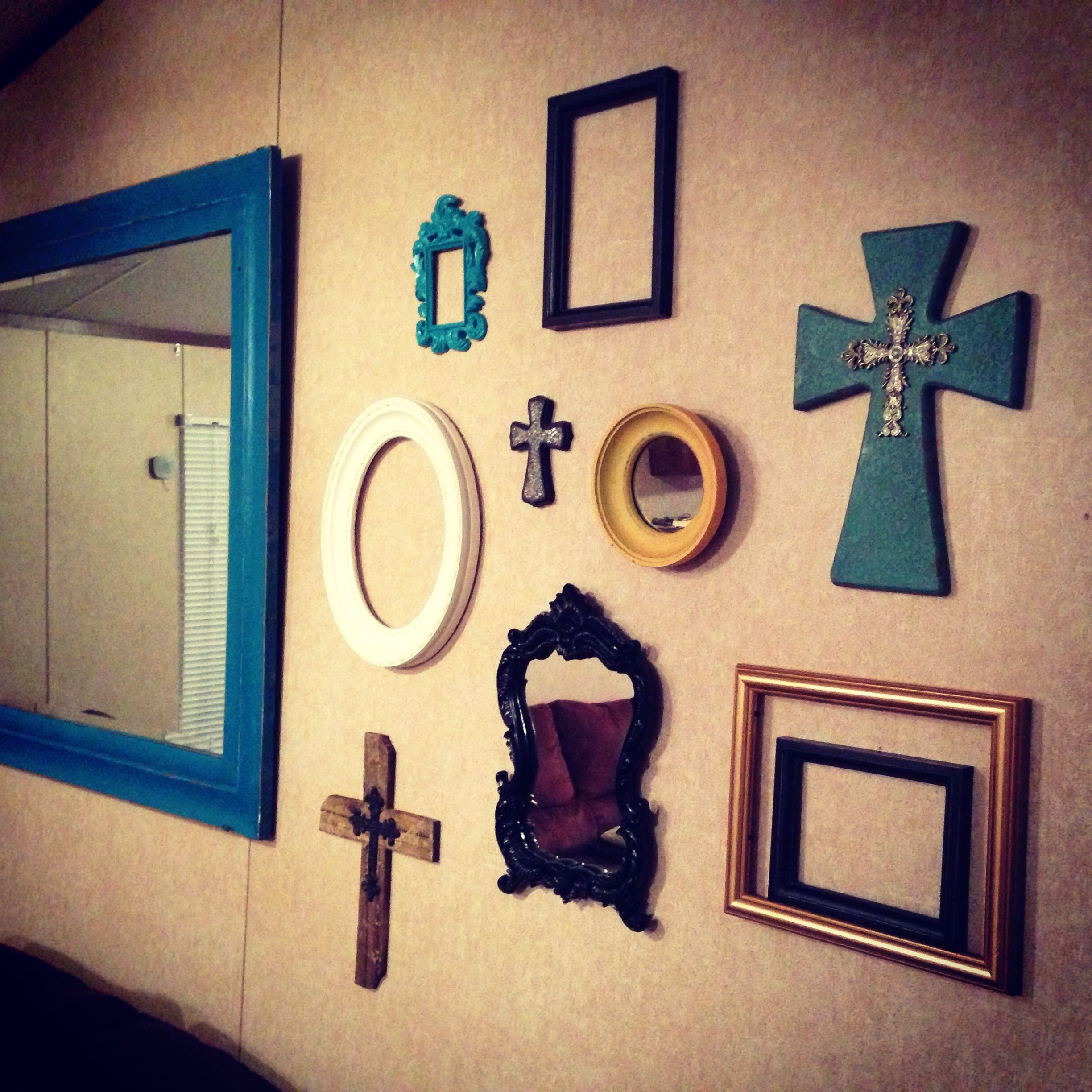 Picture frame and mirror collage wall | home decore | Pinterest