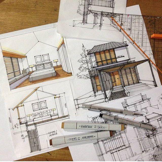 Sketch Study For A Small House Design By Yandi P ภาพวาดเช งสถา