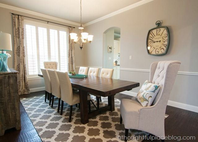 Dining Room Decor With Plantation Shutters Chair Rail Farmhouse Table And Accent Rug