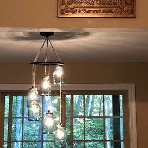 Mason Jar Chandelier Lighting Fixture, Hanging Mason Jar Pendant Lights, Red Orange Yellow Clear Jars, BootsNGus Lighting, Bulbs Included #jarchandelier