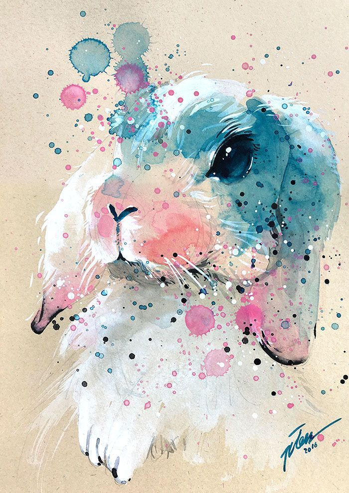 Tilen Ti Bunny 3 Watercolor With Gouache Painting A4 Art