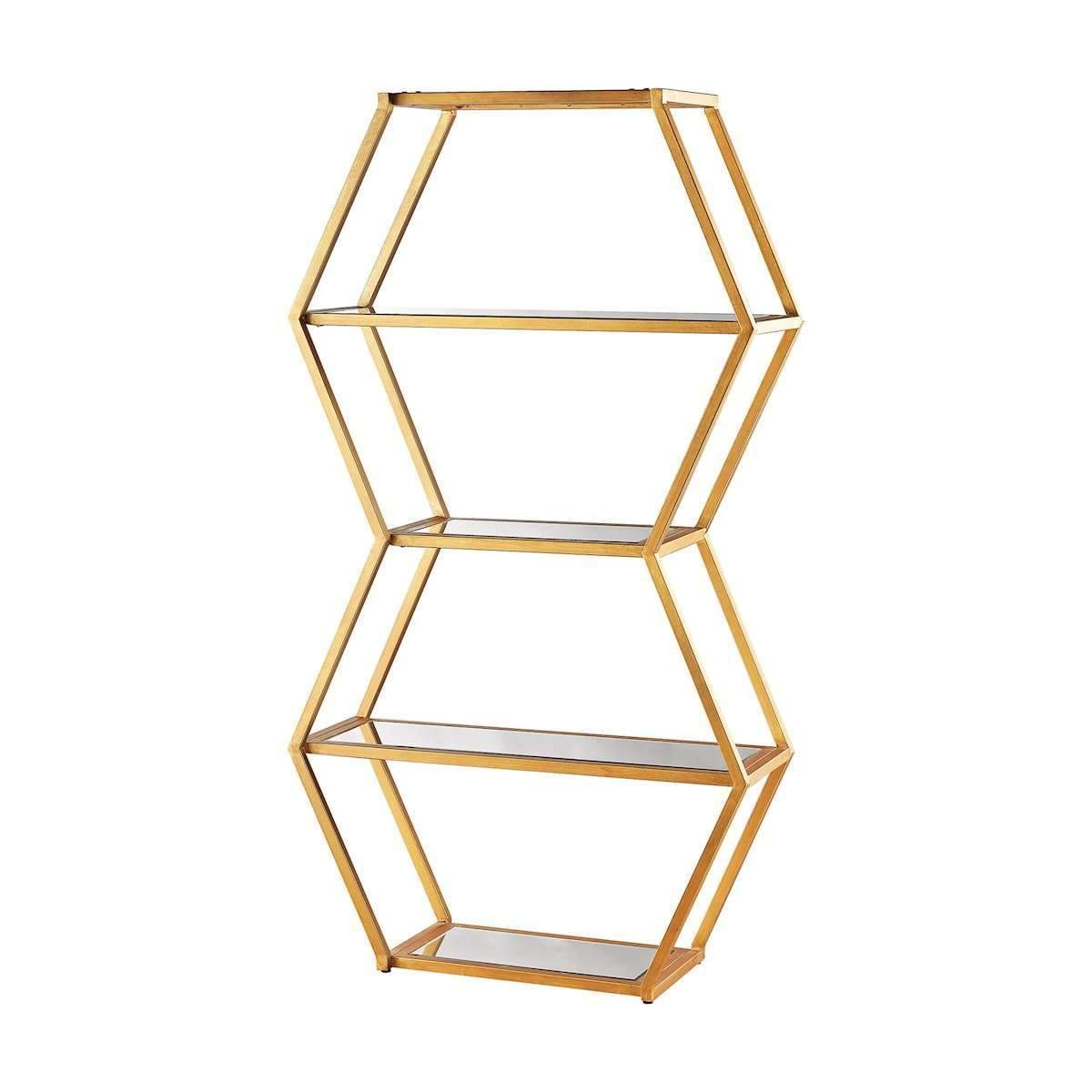 Vanguard book shelf in gold leaf and clear mirror by dimond home